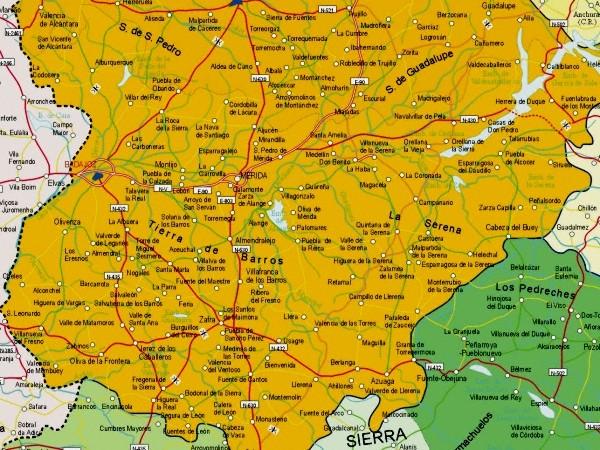 Map of Badajoz Provincia, Spain