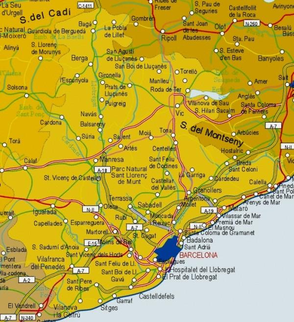 Mapa de la Provincia Barcelona, España