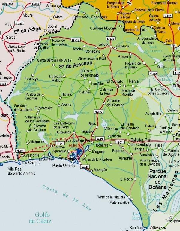 Map of Huelva Provincia, Spain