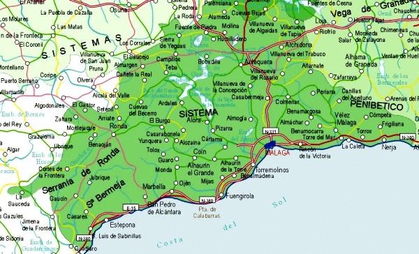 Map of Málaga Provincia, Spain