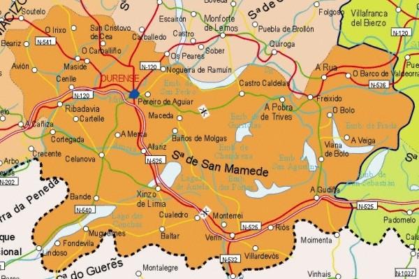 Mapa de la Provincia Orense, España
