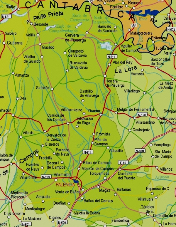Map of Palencia Provincia, Spain