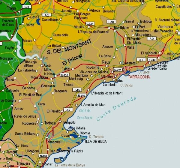 Mapa de la Provincia Tarragona, España
