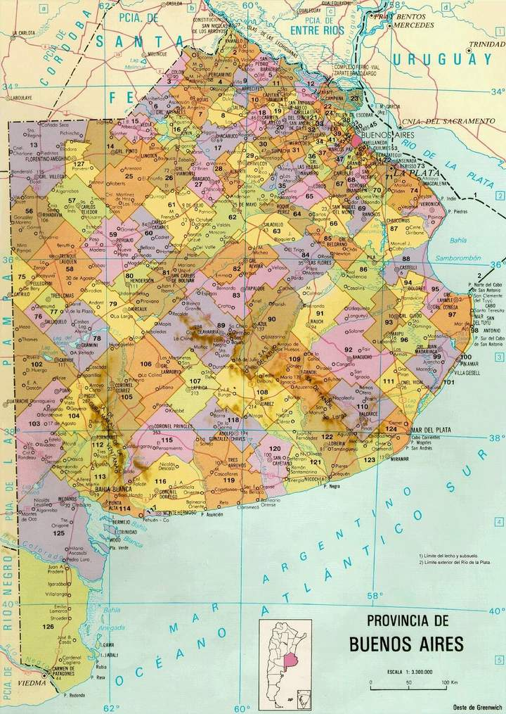 Mapa de la Provincia de Buenos Aires, Argentina