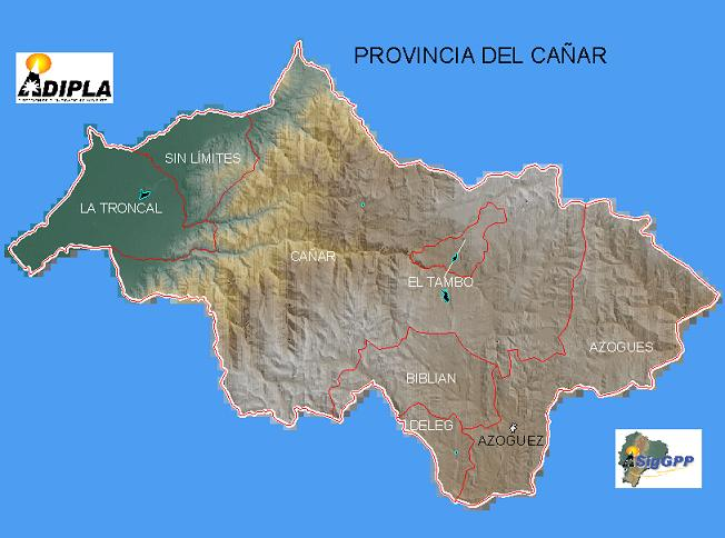 Mapa de la Provincia de Cañar, Ecuador