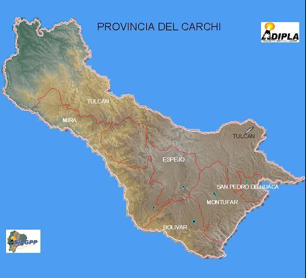 Mapa de la Provincia de Carchi, Ecuador