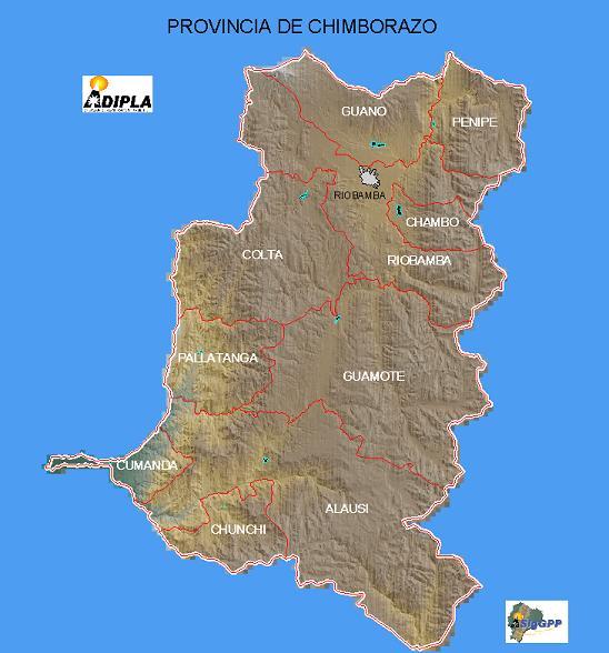 Mapa de la Provincia de Chimborazo, Ecuador