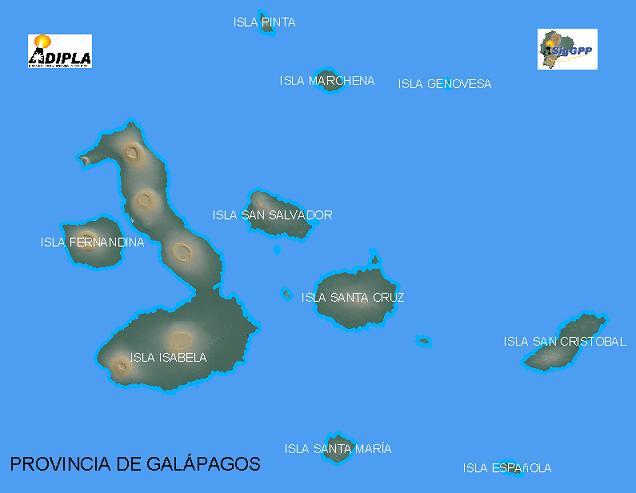 Mapa de la Provincia de Galápagos, Ecuador