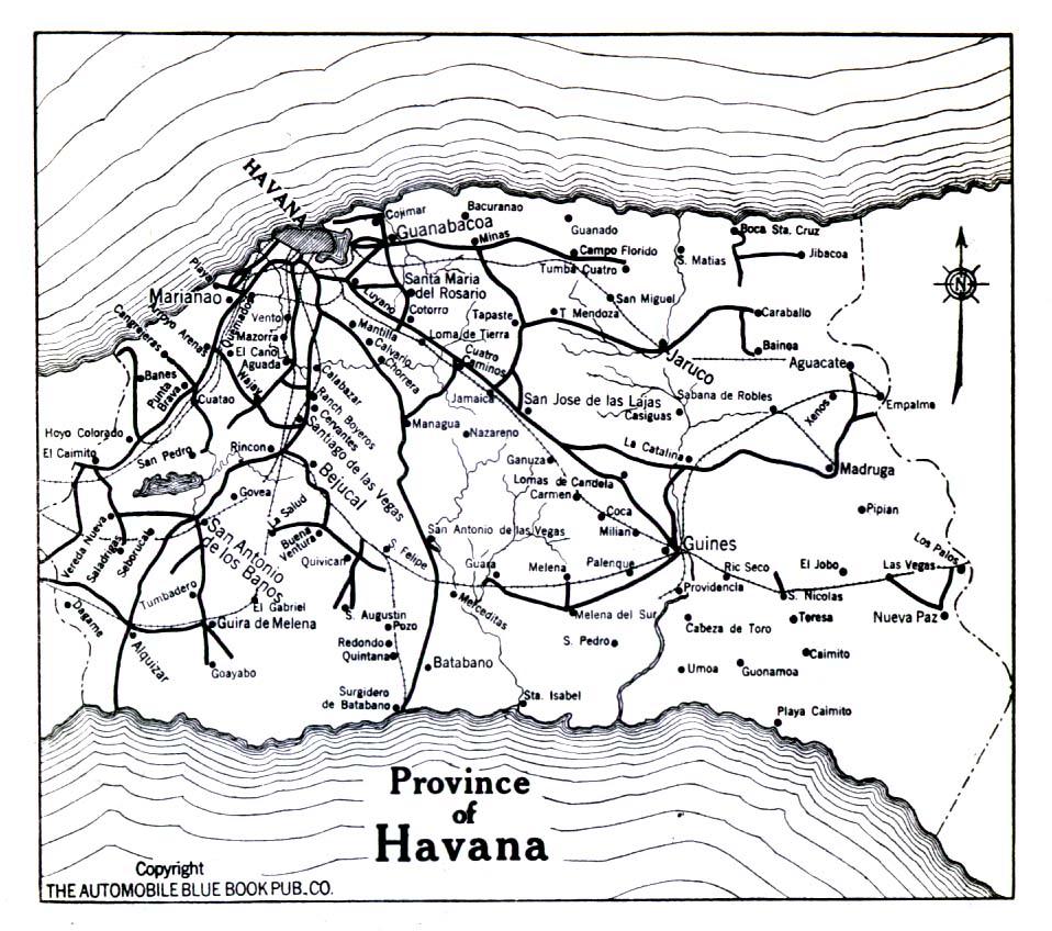 Province of Havana Map, Cuba 1919