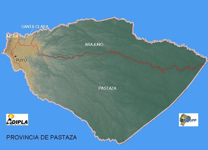 Mapa de la Provincia de Pastaza, Ecuador