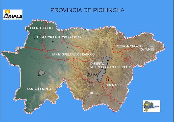 Mapa de la Provincia de Pichincha, Ecuador