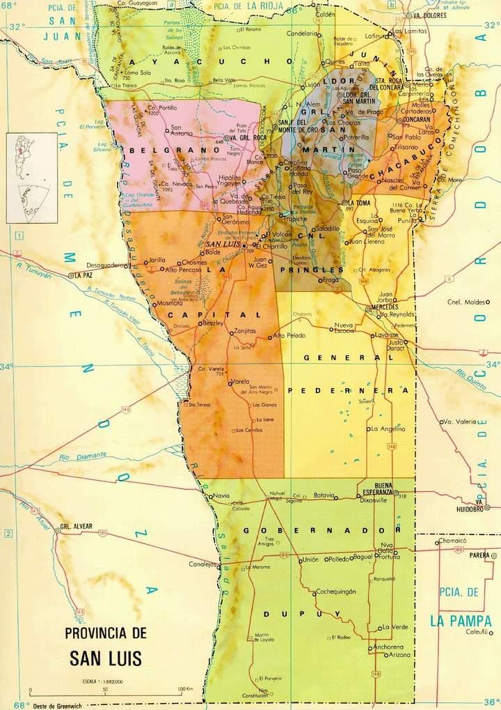 San Luis Province Map, Argentina