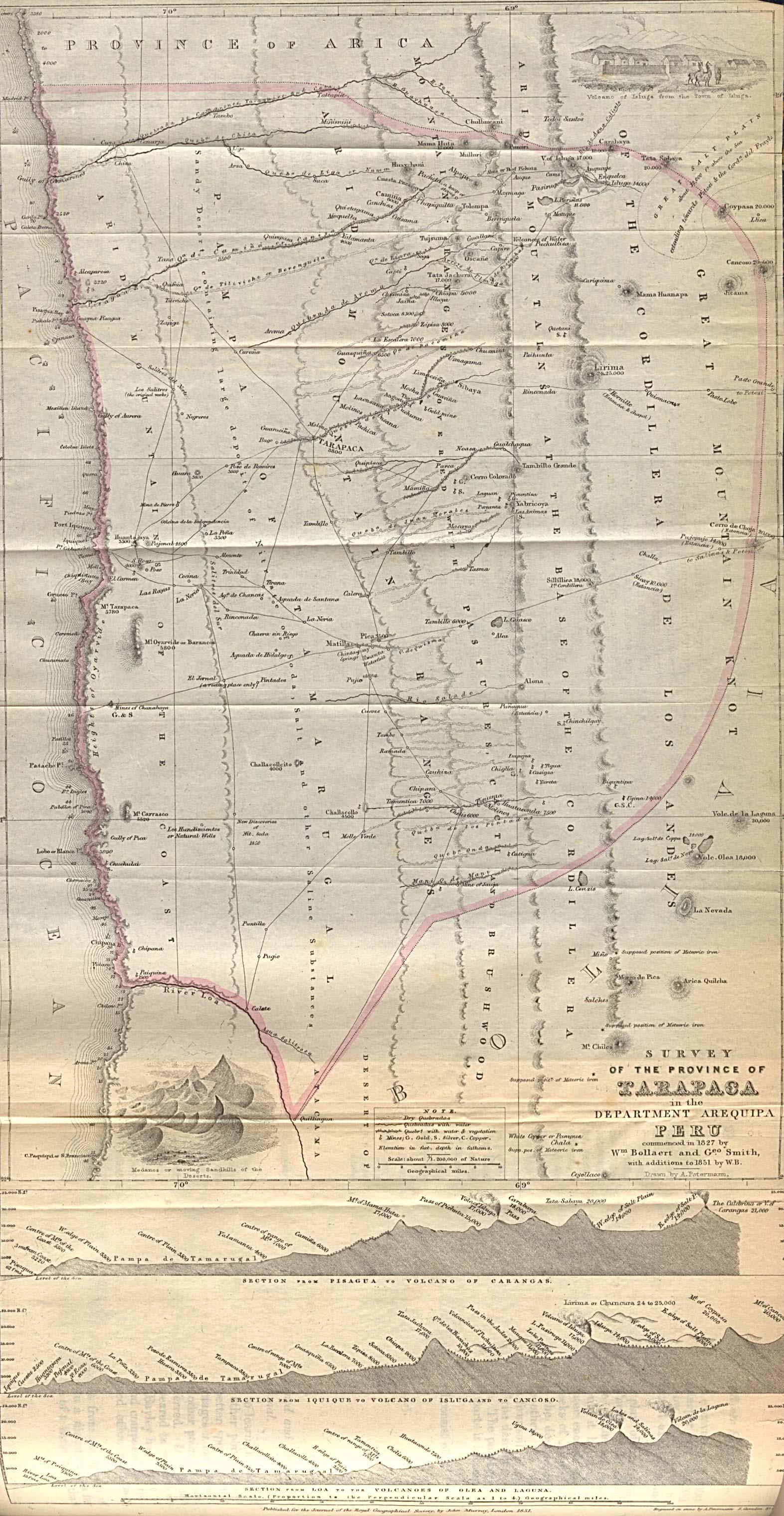 Mapa de la Provincia de Tarapacá, Perú 1851