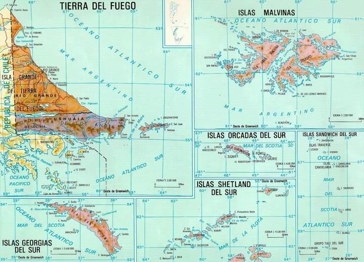 Tierra del Fuego Province Map, Argentina