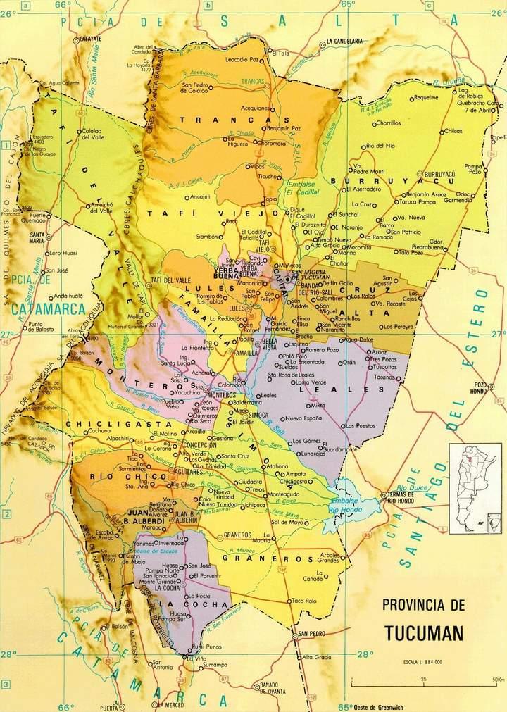Mapa de la Provincia de Tucumán, Argentina