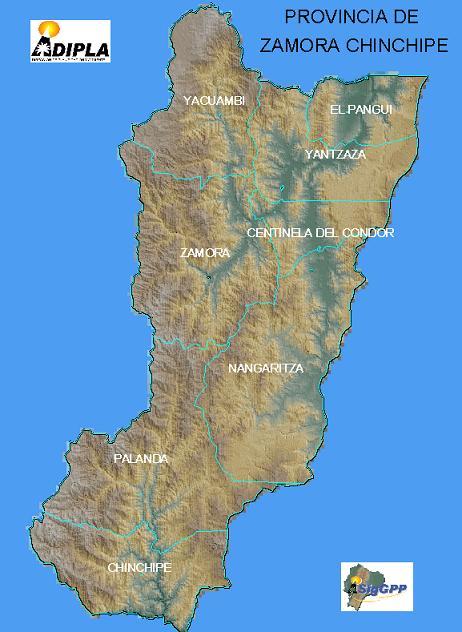 Mapa de la Provincia de Zamora Chinchipe, Ecuador