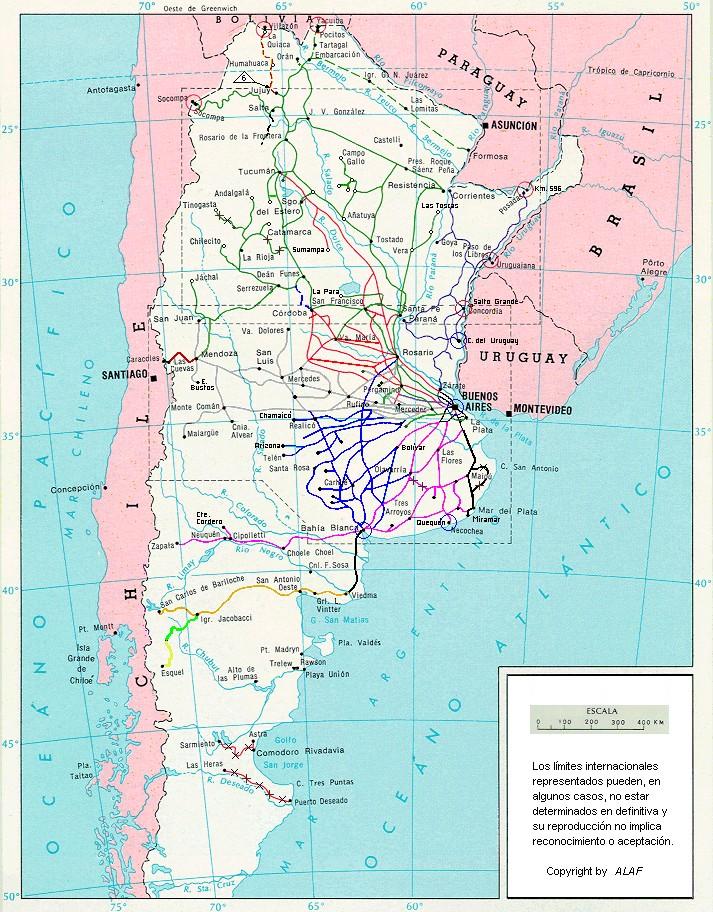 Mapa de la Red Ferroviaria Argentina
