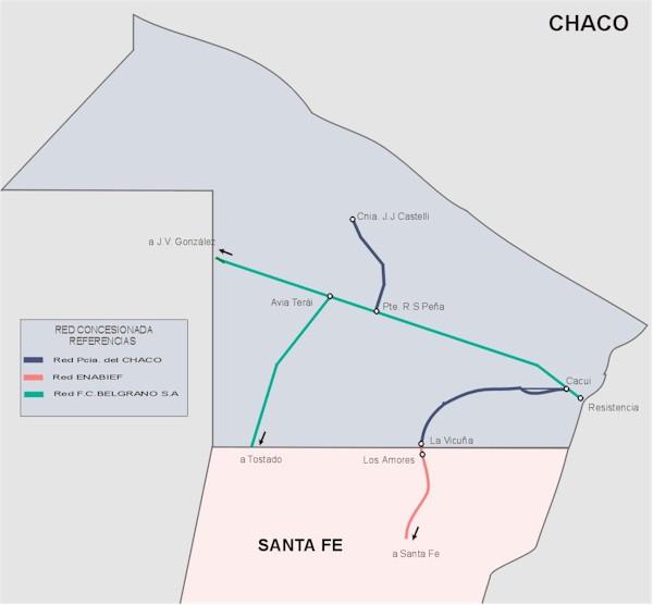 Mapa de la Red Ferroviaria de la Prov. Chaco, Argentina