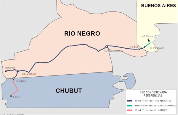 Río Negro Province Railway Network Map, Argentina