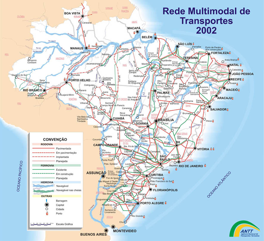 Mapa de la Red Multimodal de Transportes de Brasil