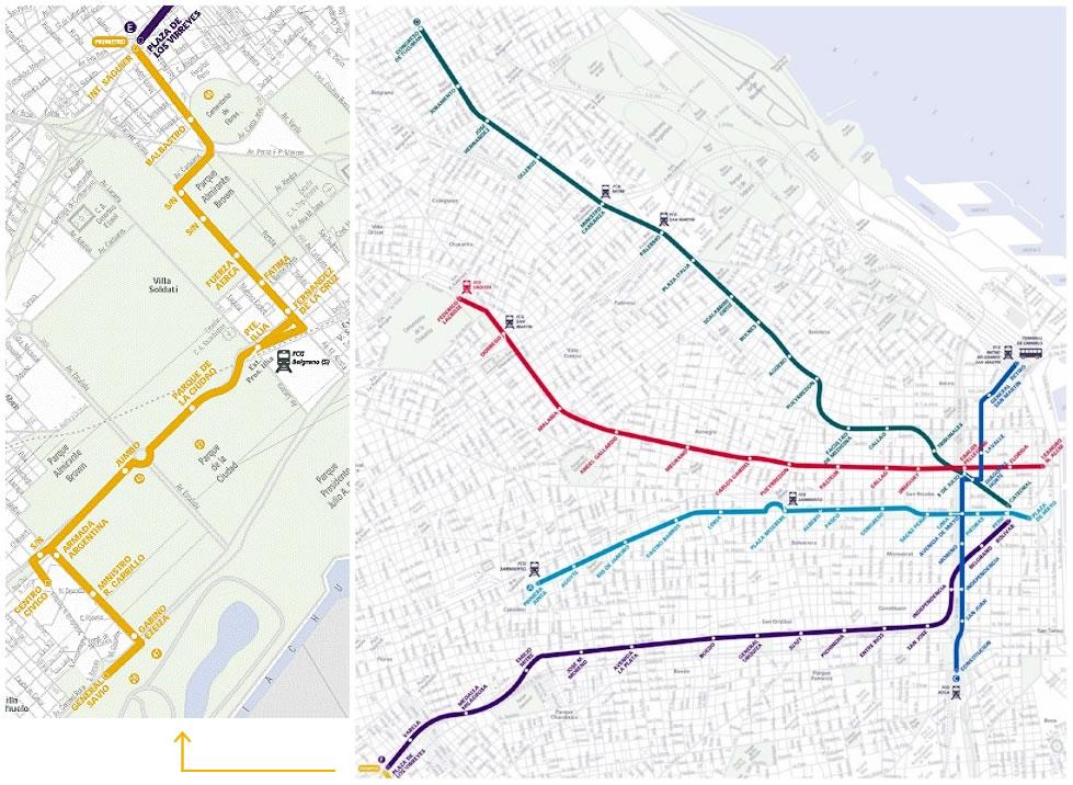 Mapa de la Red de Subterráneos (Metro), Buenos Aires, Argentina