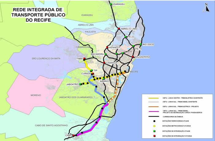Recife's Public Transit & Transportation Network System Map, Brazil