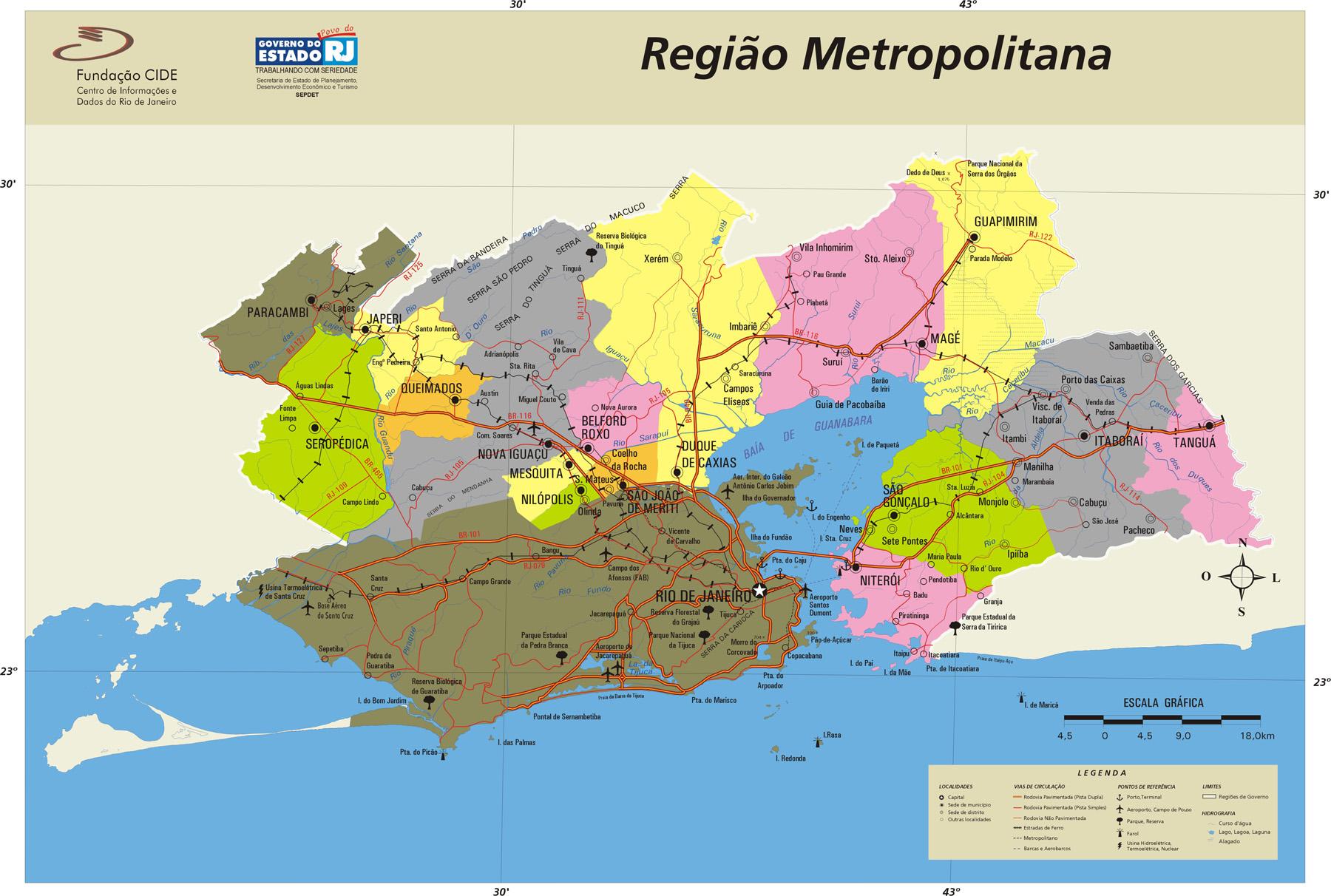 Mapa de la Region Metropolitana, Edo. Rio de Janeiro, Brasil