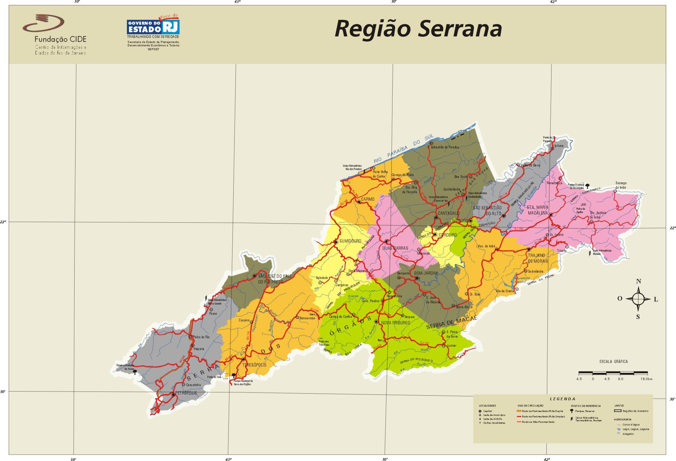 Serrana Region Map, Rio de Janeiro State, Brazil
