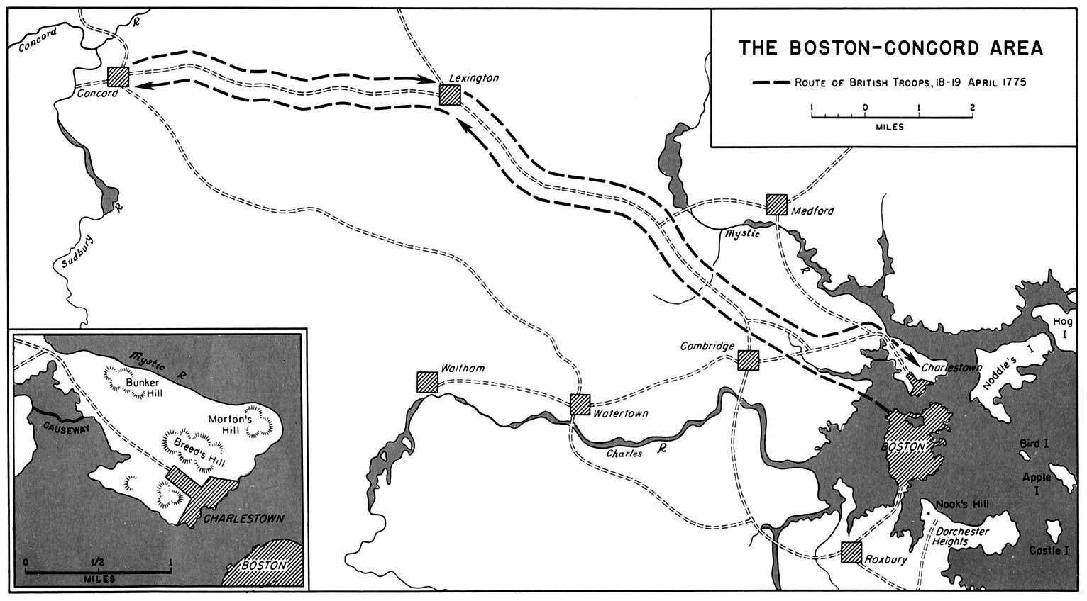 Map of the Boston Concord Area, Route of British Troops April 1775, American Revolutionary War