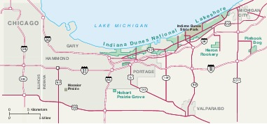 Area Map of Indiana Dunes National Lakeshore, Indiana, United States