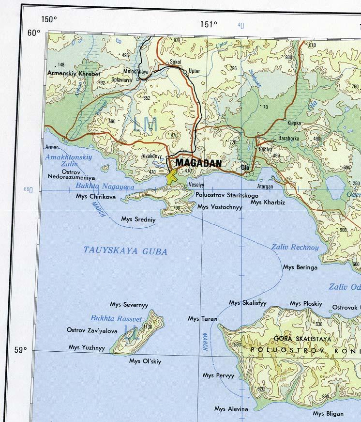 Magadan Russia Map