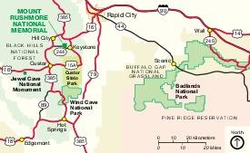 Mapa de la Región de Memorial Nacional Monte Rushmore, Dakota del Sur, Estados Unidos