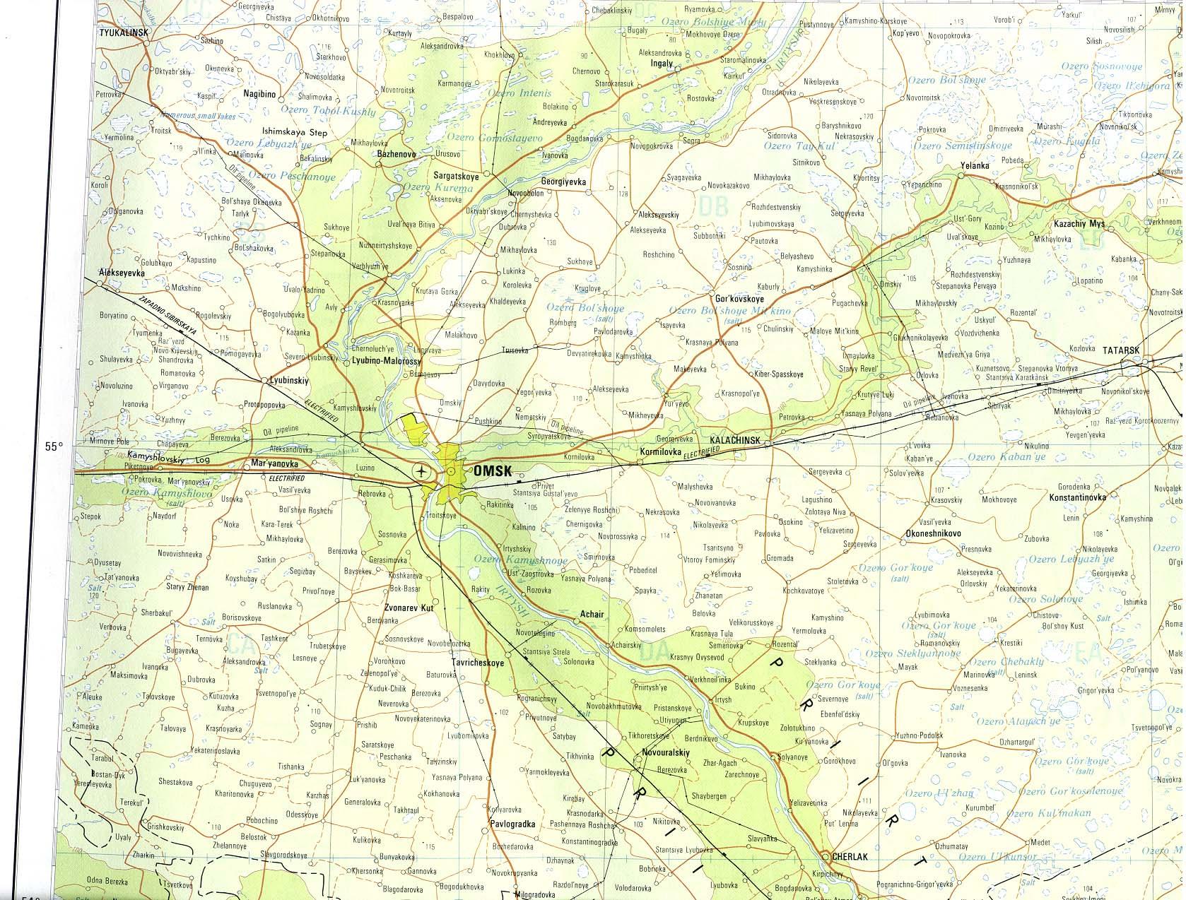 Mapa de la Región de Omsk