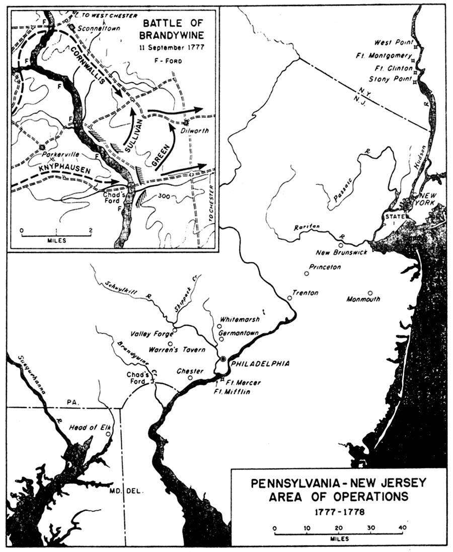 Map of the Pennsylvania-New Jersey Area of Operations 1777 - 1778, American Revolutionary War