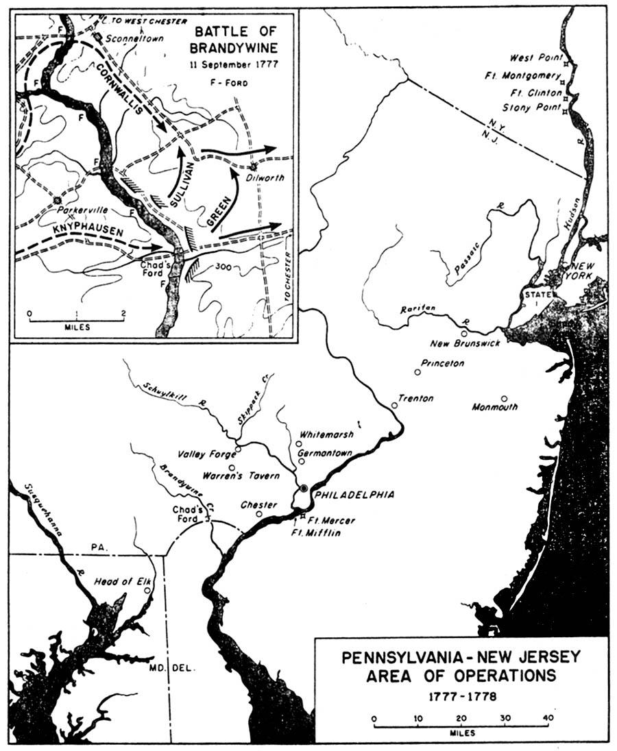 Mapa de la Región de Operaciones Pensilvania-Nueva Jersey, 1777 - 1778, Guerra de la Independencia