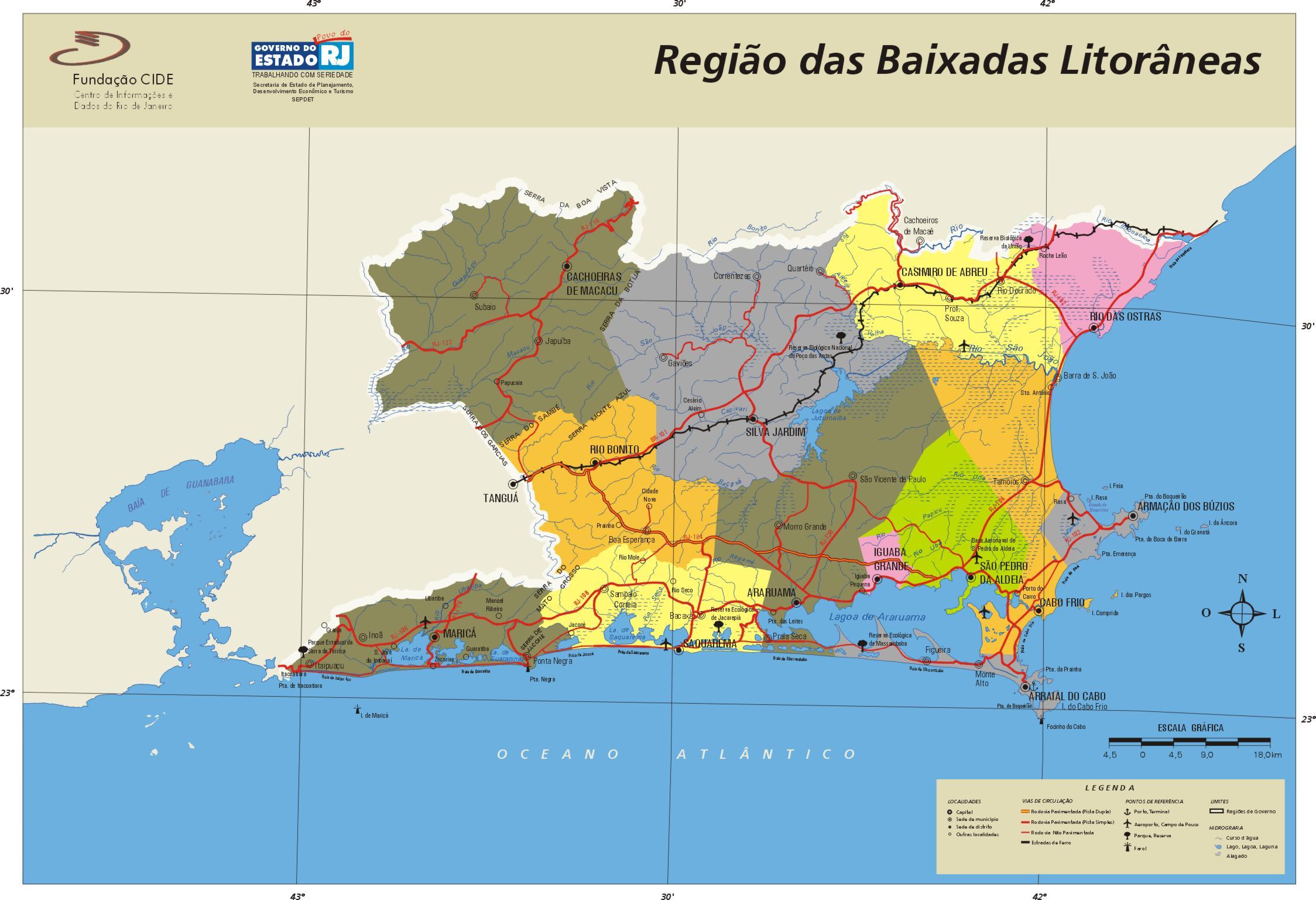 Baixadas Litorâneas Region Map, Rio de Janeiro State, Brazil