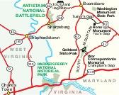 Area Map of Antietam National Battlefield, Maryland, United States