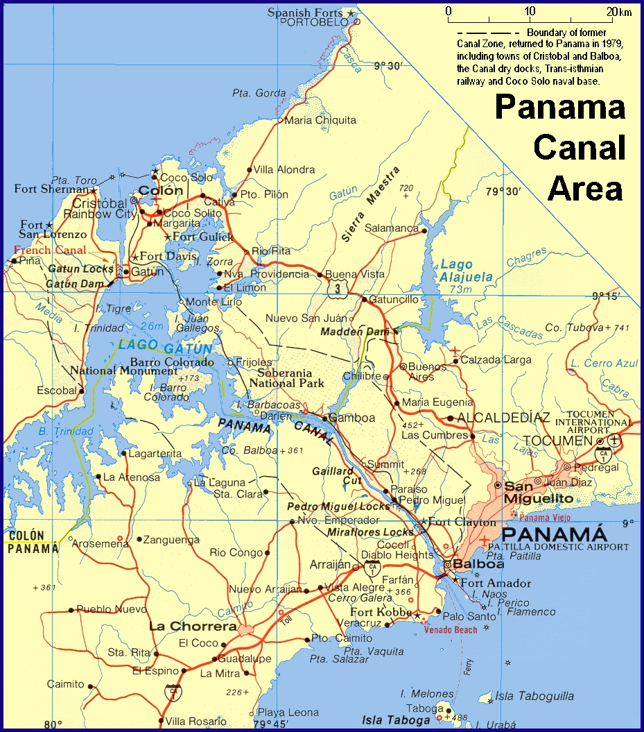 Panama City and Canal Map (Region)