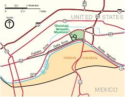 Mapa de la Región del Chamizal Memorial Nacional, Texas, Estados Unidos