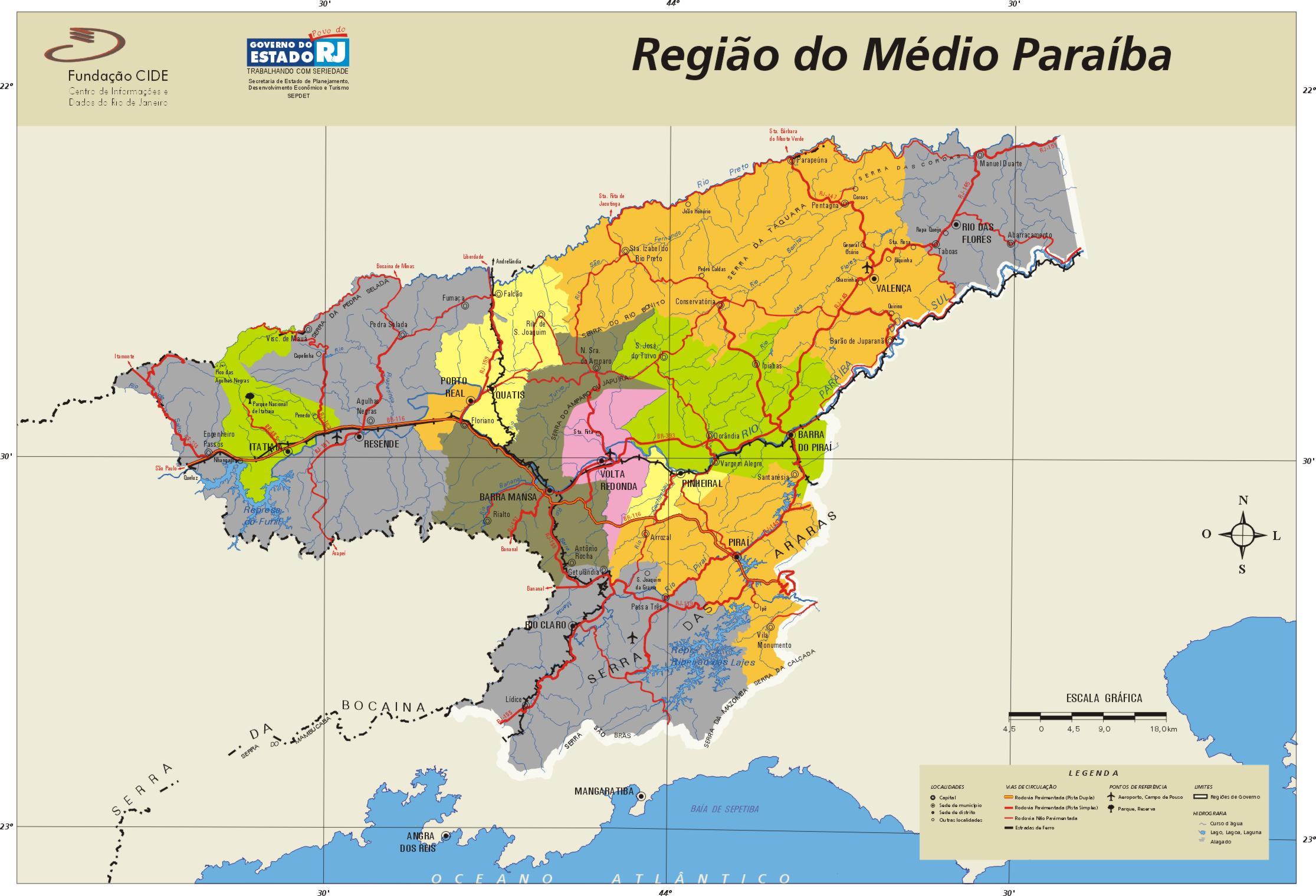 Médio Paraíba Region Map, Rio de Janeiro State, Brazil