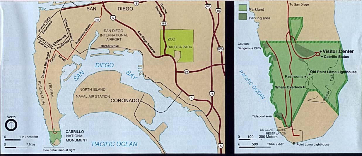 Cabrillo National Monument Area Map, California, United States