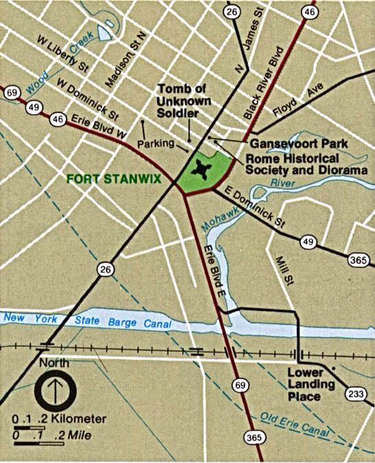 Mapa de la Región del Monumento Nacional Fort Stanwix, Nueva York, Estados Unidos