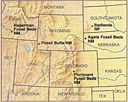 Mapa de la Región del Monumento Nacional Fossil Butte, Wyoming, Estados Unidos