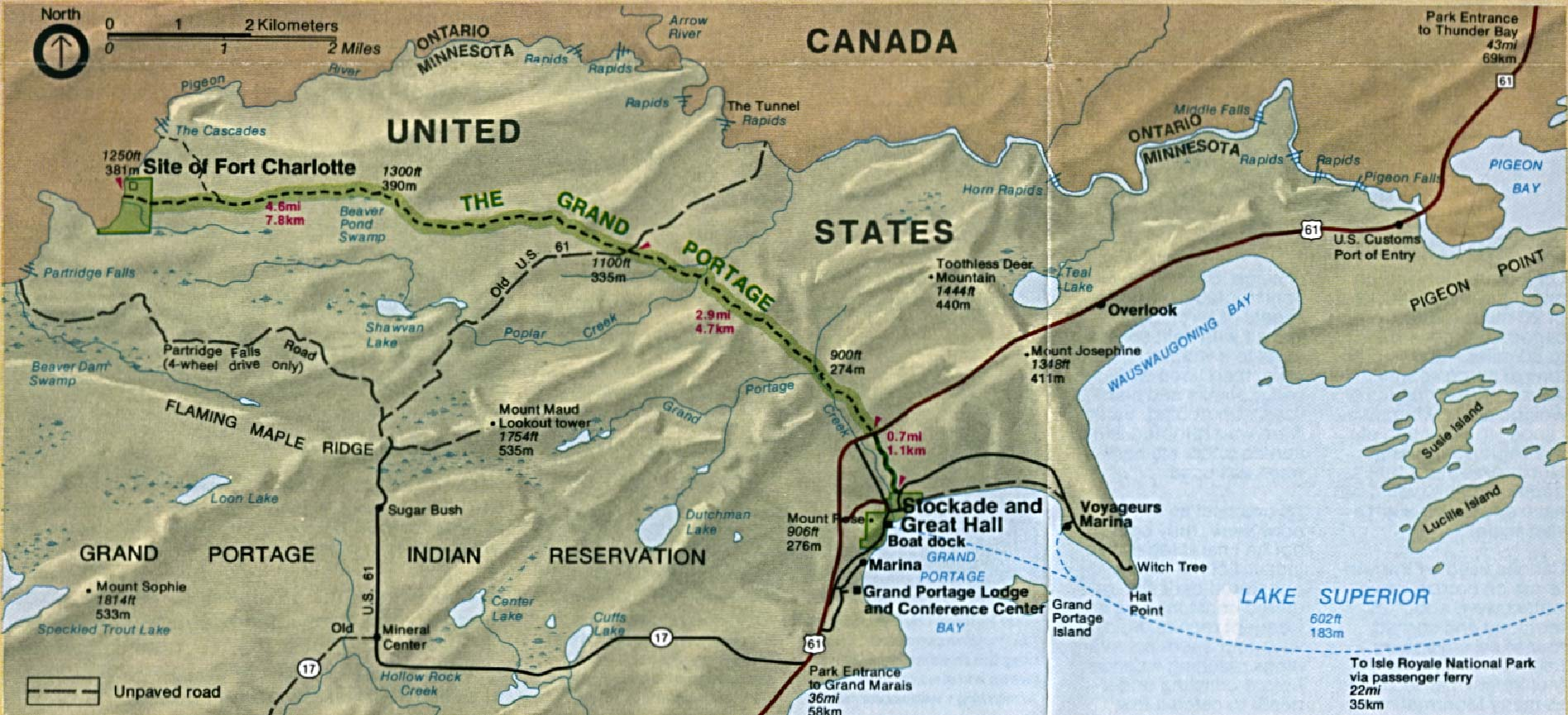 Area Map of Grand Portage National Monument, Minnesota, United States