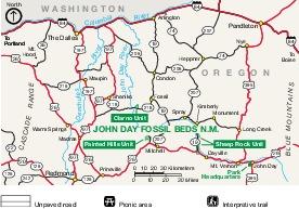 Mapa de la Región del Monumento Nacional John Day Fossil Beds, Oregón, Estados Unidos