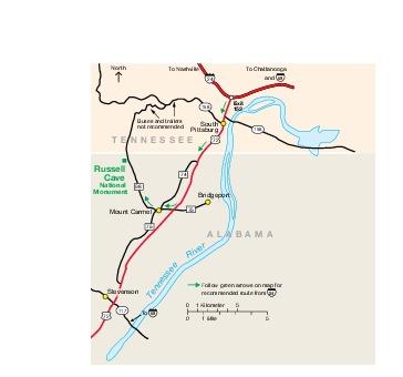 Mapa de la Región del Monumento Nacional Russell Cave, Alabama, Estados Unidos