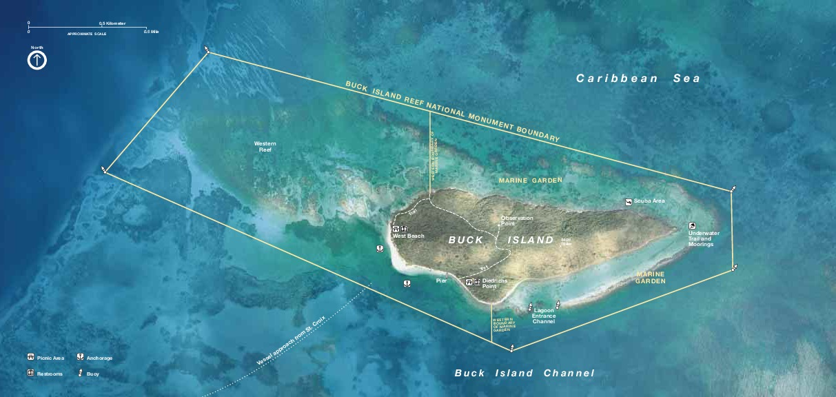 Buck Island Reef National Monument Park Map, Virgin Islands, United States
