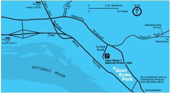 Mapa de la Región del Parque Glen Echo, Maryland, Estados Unidos