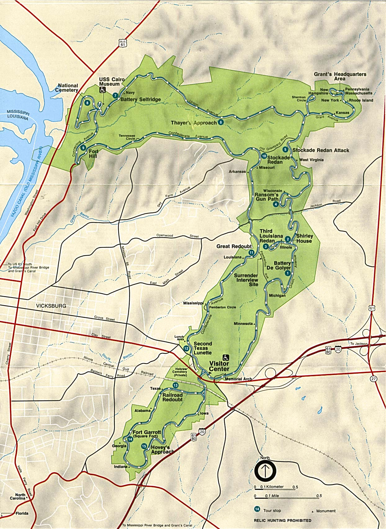 Mapa de la Región del Parque Militar Nacional de Vicksburg, Misisipi, Estados Unidos
