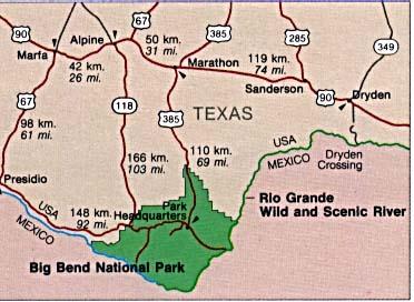 Mapa de la Región del Parque Nacional Big Bend, Texas, Estados Unidos